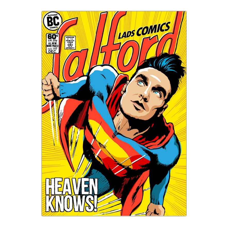 Acrylglasbild Post-Punk Comix- Super Moz - Heaven Knows von Butcher Billy - Größe: A2 (59 x 42 cm),